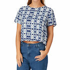 Native Youth Kaleidoscope Print Boxy Top - Blue / White