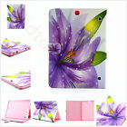 Purple Flower Floral Luxury Bling Crystal Flip PU Leather Case Cover For Tablets