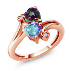 1.93 Ct Mercury Mist and Green Mystic Topaz 18K Rose Gold Plated Silver Ring