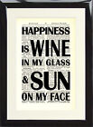 Art Print Antique Dictionary Page Quote Happiness is Wine and Sun on my Face