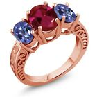 3.60 Ct Red Created Ruby Mystic Topaz 18K Rose Gold Plated Silver Ring