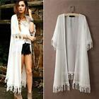 Women Summer Sexy Cardigan Kimono Long Lace Tassels Blouse Tops Shawl Beachwear