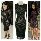 Sexy Women Bling Sequin Geometric pattern Bandage Bodycon Party Cocktail Dress