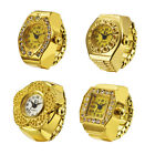 Hippy Rock Style Gold Color Bling Artificial Bling Diamond Ring Finger Watch