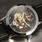 Luxurious Mechanical Men Steampunk Skeleton Stainless Steel Leather Wrist Watch