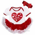 Baby First Mother's Day Heart White Red Bodysuit Tutu Party Dress Outfit