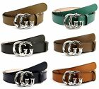 NEW Authentic GUCCI Mens Leather Belt with Silver GG Buckle 362734