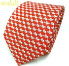 SALVATORE FERRAGAMO red with white LIONS blue flowers silk MENS tie NWT Authentc
