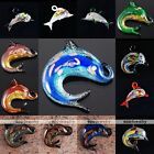 Fashion Murano Lampwork Glass Animal Dolphin Charm Pendant Bead For Necklace DIY