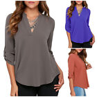 Sexy Women Ladies Long Sleeve V Neck Chiffon Top Loose Casual T Shirt Blouse TY