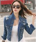 Blue Faded Distressed Buttoned Denim Jacket with Pockets & Long Sleeves S, M, L