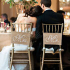 Rustic Mr. & Mrs. Burlap Chair Banner Wedding Chair Decoration Photography Signs