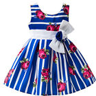 Fashion Girls Rose Flower Wedding Dress Pageant Formal Birthday Party Gown 1-5Y