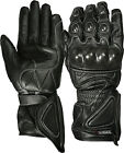Weise Black Rain Leather Carbon Sport Armoured Race Motorcycle Gloves RRP £54.99