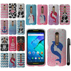 For Motorola Moto X Style XT1575 Pure Edition 3rd Gen BLING HARD Case Cover +Pen