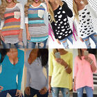 UK8-18 Fashion Womens Ladies Loose Floral Tops Long Sleeve Shirt Casual Blouse