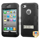 Hybrid Case +Silicone Hybrid +Stand Protector TUFF Cover for iPhone 4 4S