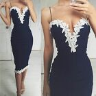 UK8-16 CELEB WOMENS SEXY LACE PROM BODYCON PARTY DRESS COCKTAIL EVENING DRESS