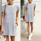 UK Women Summer T-Shirt Dress Ladies Striped Mini Party Sun Dress Size 8 - 16 YG