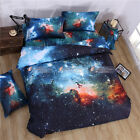 3D Duvet Quilt Cover Pillowcase Bed Set Queen Double Universe Illusion Star Blue
