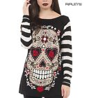 JAWBREAKER Goth Top Jumper/Sweater SKULL Stripe  White & Black All Sizes