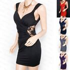 Elegant Cross Bust Lace Padded Ruched Mini Evening Party Dress