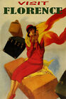 VISIT FLORENCE TRAVEL FASHION WOMAN LUGGAGE ITALY TOURISM VINTAGE POSTER REPRO