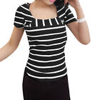 Women Short Sleeves Square Neck Stripes Ribbed Mesh Panel Top