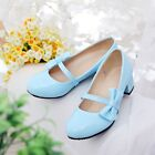 Sweet Ladies Round Toe Pumps Casual Block Heel PU Fahion Mary Janes Shoes Sz