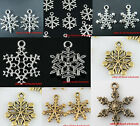 Hot Antique Silver/Gold Color Snowflakes Jewelry Findings Charms Pendants