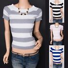 Sexy Knit Stripes Short Sleeves Top Blouse