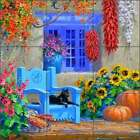 Ceramic Tile Mural Backsplash Senkarik Southwest Courtyard Floral Art MSA187