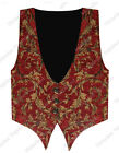 Steampunk Men Red Gold Brocade Vest Magician Western Pirate Gothic Waistcoat