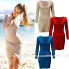 Womens Long Sleeve Side Slit Casual V neck Party Bodycon Mini Dress