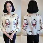 New Fashion Women 3/4 Sleeve Chiffon Kroean Shirt Vintage Prints Blouse Top - LD