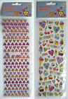 MINI STICKERS - Glitter Gel Puffy - HEARTS CAKES ICE CREAM HAPPY KISS