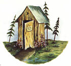 Ceramic Decals NATURE CALLS Outhouse Out House Scene Rustic image