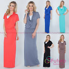 Womens Evening Maxi Dress Full Length Cowl Neck Short Sleeve Sizes 8-14 8202
