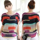 Women Irregular Casual Chiffon Loose Tops Batwing Short Sleeve Loose Blouse B20~
