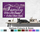 Family Wall Room Picture Where Life Begins.. Purple Wall Canvas Print A1/A2/A3