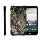 For LG Stylus 2 | Stylo 2| Dual Bumper Case Kickstand Tree Bark Hunter Camo