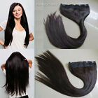 1 Piece Luxury Straight Remy Human Hair Extensions with 5 Clips 1B# Off Black