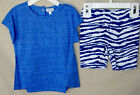 SPLENDID 2 piece S/S Blue Short Set w/Animal Print Stretch Short BOY SIZES NWT