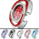 Women's Fashion Silver-tone Crystal Oval Quartz Watch,Cuff Bangle Bracelet