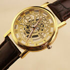 Hollow Mens/Womens Watch Leather Band Stainless Steel Analog Quartz Wrist Watch