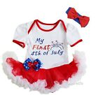 Baby My First 4th Of July White Red Bodysuit Tutu Dress Romper