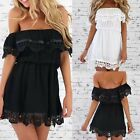 Women Charm White Off the Shoulder Strapless Lace Stitching Mini Dress TY