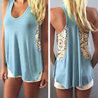 Fashion Women Summer Loose Casual Sleeveless Lace Vest Tank Tops Blouse T-shirt