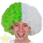 FOOTBALL TEAM SUPPORTERS GREEN AND WHITE AFRO WIG NOVELTY HAIR FOR SPORTS EVENT