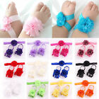 Newest Baby Girl Crib Pram Shoes Sandals Flower for Baby Feet Mesh Hair Headband